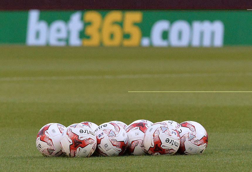 Footballs in front of the bet365.com advertising board<br /> <br /> Photographer Dave Howarth/CameraSport<br /> <br /> Football - The Football League Sky Bet Championship - Burnley v Milton Keynes Dons - Tuesday 15th September 2015 - Turf Moor - Burnley<br /> <br /> &copy; CameraSport - 43 Linden Ave. Countesthorpe. Leicester. England. LE8 5PG - Tel: +44 (0) 116 277 4147 - admin@camerasport.com - www.camerasport.com