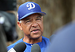 Dodgers manager Dave Roberts answers media questions in Glendale, Ariz., on Friday, March 15, 2019. <br /> Photo by Cathleen Allison/Nevada Momentum