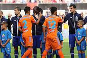 01.08.2015. Cologne, Germany. Pre Season Tournament. Colonia Cup. Valencia CF versus FC Porto.  Joao Cancelo and Danlo Da Silva shake hands with the opposition
