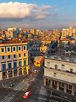Havana, Cuba: Elevated view of Old Havana buildings at dawn