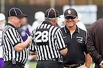 Orange, CA 05/16/15 - Grand Canyon Coach Manny Rapkin chats with the officials before the first face-off of the game.