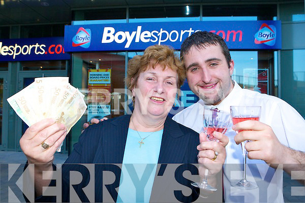 LUCKY BET: Nancy Brosnan, Glenflesk celebrates winning EUR32,000 after placing a EUR75 bet on the horses in Boylesports on Tuesday l-r: Batt Brosnan, Mary Shorthall, Stephen Brosnan Boylesports and Tom Quirke.   Copyright Kerry's Eye 2008