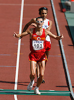 Francisco Javier Fernan finished 2nd. in  the 20k racewalk with a time of 1:22:40  on Sunday morning August 26, 2007.Photo by Errol Anderson, The Sporting Image.