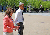 United States President Barack Obama walks with the 2015 National Teacher of the Year, Shana Peeples of Texas, to pick up a carry-out snack following a Rose Garden ceremony at the White House, in Washington, Wednesday, April 29, 2015.<br /> Credit: Martin H. Simon / Pool via CNP