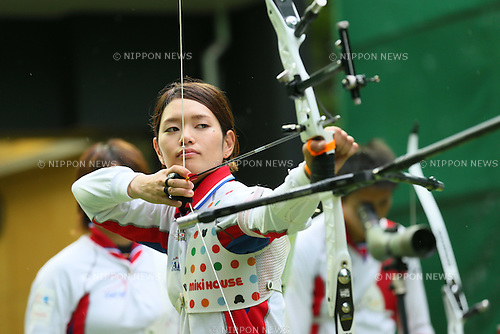 Kaori Kawanaka (JPN), <br /> JULY 18, 2015 - Archery : <br /> Japan National Team Training <br /> for The World Archery Championships 2015 <br /> at JISS Archery Field, Tokyo, Japan. <br /> (Photo by YUTAKA/AFLO SPORT)