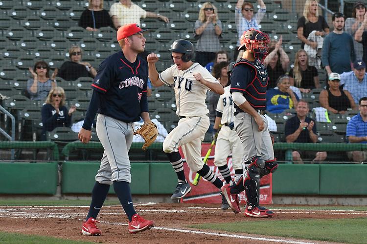 May 27, 2017; Stockton, CA, USA; BYU Cougars catcher David Clawson during the WCC Baseball Championship at Banner Island Ballpark.