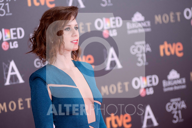 Manuela Velles attends to the Red Carpet of the Goya Awards 2017 at Madrid Marriott Auditorium Hotel in Madrid, Spain. February 04, 2017. (ALTERPHOTOS/BorjaB.Hojas)