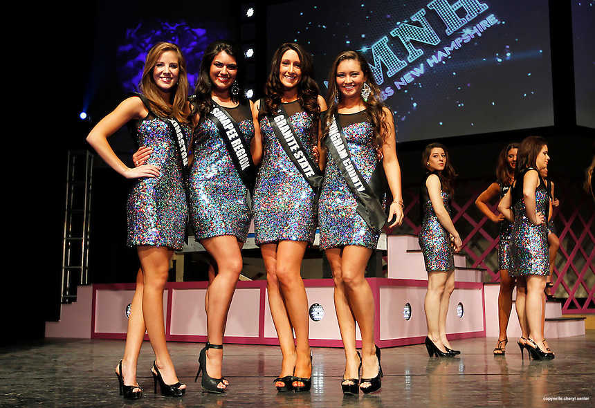 Contestants for the Miss New Hampshire contest from left, Sarah Mousseau of Stratham, Brittany Dube of Atkinson, Alexandra Mills of Newfields and Kristin Crossland of Seabrook pose for a picture during media day at the Pinkerton Academy Stockbridge Theater in Derry, N.H., Sunday, April 21, 2013.  (Portsmouth Herald Photo Cheryl Senter)