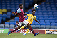 Terrell Egbri of Southend United gets his cross in under pressure from Jamal Baptiste, West Ham U21's during Southend United vs West Ham United Under-21, EFL Trophy Football at Roots Hall on 8th September 2020