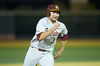 Cal Raleigh (35) of the Florida State Seminoles hustles around third base during the game against the Wake Forest Demon Deacons at David F. Couch Ballpark on March 9, 2018 in  Winston-Salem, North Carolina.  The Seminoles defeated the Demon Deacons 7-3.  (Brian Westerholt/Four Seam Images)