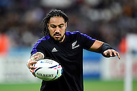 Ma'a Nonu of New Zealand catches the ball during the pre-match warm-up. Rugby World Cup Pool C match between New Zealand and Namibia on September 24, 2015 at The Stadium, Queen Elizabeth Olympic Park in London, England. Photo by: Patrick Khachfe / Onside Images