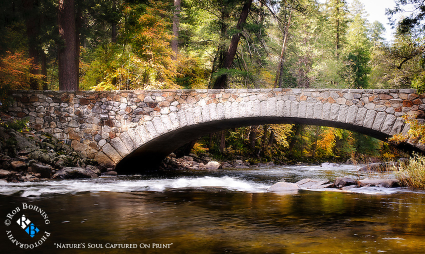 The Pohono Bridge in Yosemite is beautiful in all seasons, and especially in autumn