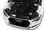 Car Stock 2017 Audi A3 S-Line 4 Door Sedan Engine  high angle detail view