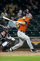 Kyle Tucker (30) of the Buies Creek Astros lines a single to left field for his fourth hit of the game against the Winston-Salem Dash at BB&T Ballpark on April 15, 2017 in Winston-Salem, North Carolina.  The Astros defeated the Dash 13-6.  (Brian Westerholt/Four Seam Images)