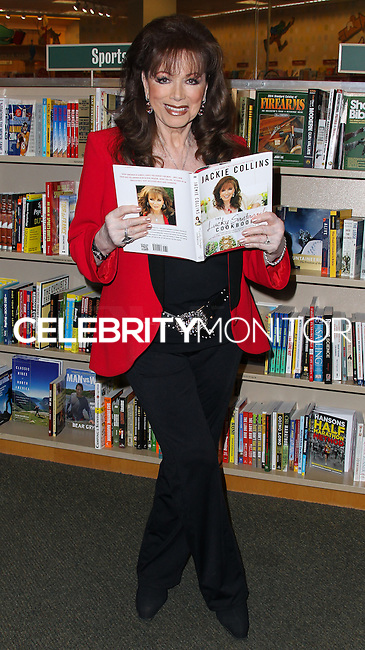 "LOS ANGELES, CA, USA - APRIL 17: Writer Jackie Collins poses before signing copies of her new book ""The Lucky Santangelo Cookbook"" at Barnes & Noble bookstore at The Grove on April 17, 2014 in Los Angeles, California, United States. (Photo by Xavier Collin/Celebrity Monitor)"