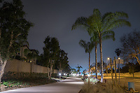 A night view of the Harbor Boulevard Cornerstone Bike Trail in Costa Mesa, California.  The light-lined pathway curves off into the distance under a sky that has the beginnings of a light fog visible in it, so is a dusty gray.  Multiple landscaping elements are visible, and the street is empty of cars.  The foliage is all crisp and sharp even in this long-exposure image. The landscape architecture work on the project was done by David Volz Design.