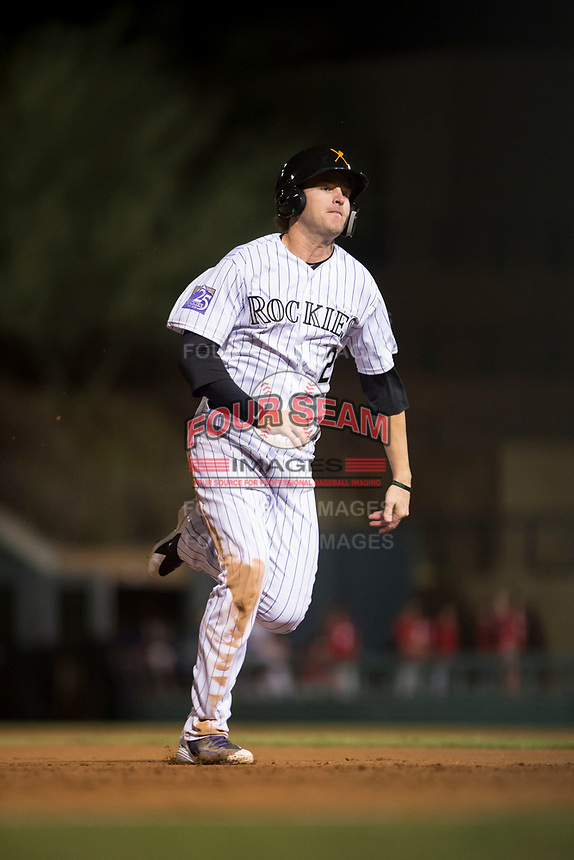 Salt River Rafters first baseman Tyler Nevin (2), of the Colorado Rockies organization, runs to third base during an Arizona Fall League game against the Scottsdale Scorpions at Salt River Fields at Talking Stick on October 11, 2018 in Scottsdale, Arizona. Salt River defeated Scottsdale 7-6. (Zachary Lucy/Four Seam Images)
