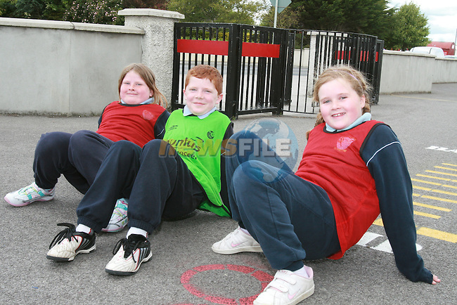 Grainne McCabe, William Gibbon and Molly Balfe play crab football when Scoil an Spioraid Naoimh raise the Active Week Flag 2009...Photo NEWSFILE/Jenny Matthews.(Photo credit should read Jenny Matthews/NEWSFILE)....This Picture has been sent you under the condtions enclosed by:.Newsfile Ltd..The Studio,.Millmount Abbey,.Drogheda,.Co Meath..Ireland..Tel: +353(0)41-9871240.Fax: +353(0)41-9871260.GSM: +353(0)86-2500958.email: pictures@newsfile.ie.www.newsfile.ie.FTP: 193.120.102.198.