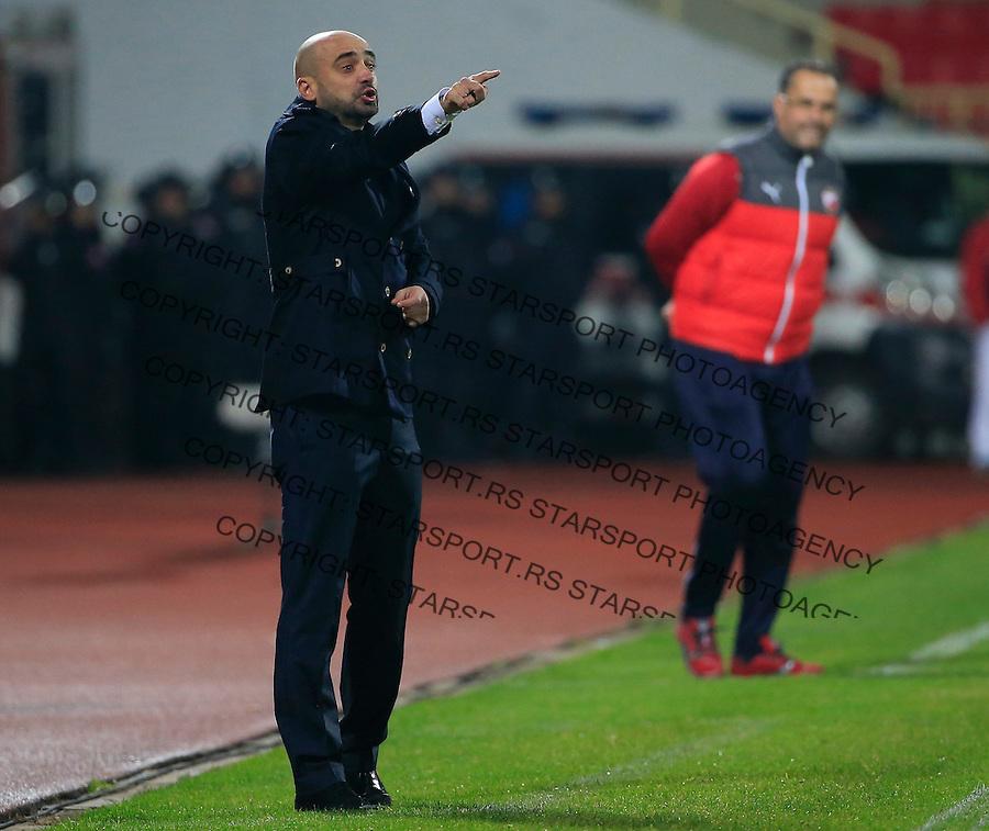 Fudbal Jelen Super League season 2015-2016<br /> Radnicki Nis v Crvena Zvezda<br /> Head coach Milan Rastavac (L) and head coach Miodrag Bozovic<br /> Nis, 22.11.2015.<br /> foto: Srdjan Stevanovic/Starsportphoto&copy;
