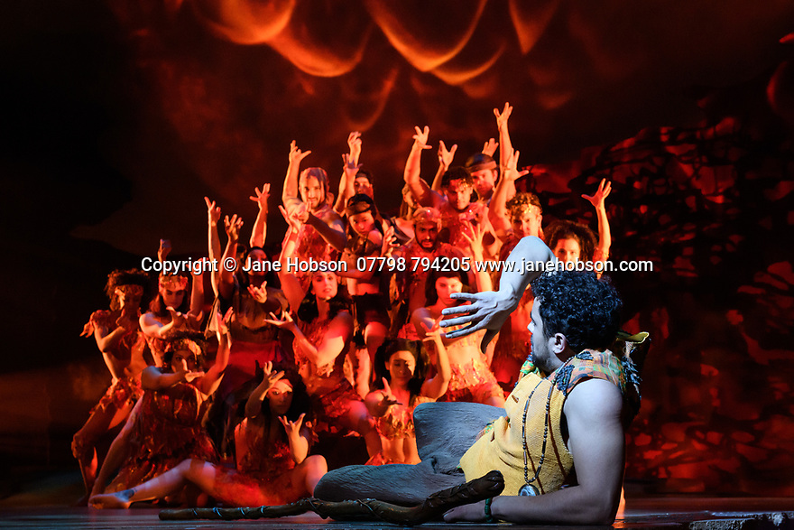 """Luke Brady (Moses) and the ensemble, in a scene from """"Prince of Egypt"""" , at the press photocall at the Dominion Theatre, London. Produced by DreamWorks Theatricals, directed by Scott Schwartz, with choreography by Sean Cheesman, set design by Kevin Depinet, costume design by Ann Hould-Ward and lighting design by Mike Billings."""