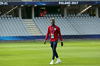 Tammy Abraham of England inspect the pitch before Slovakia Under-21 vs England Under-21, UEFA European Under-21 Championship Football at The Kolporter Arena on 19th June 2017