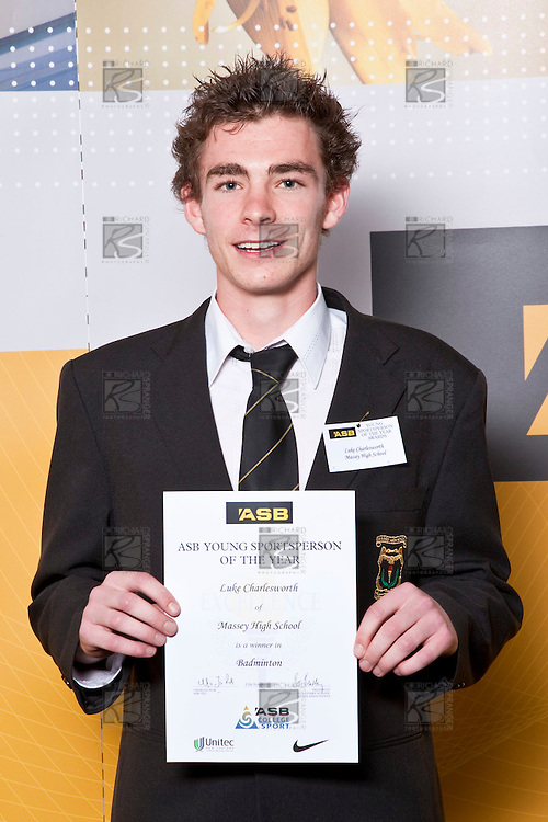 Boys Badminton winner Luke Charlesworth from Massey High School. ASB College Sport Auckland Secondary School Young Sports Person of the Year Awards held at Eden Park on Thursday 12th of September 2009.