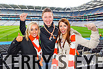 Elaine Cahill, Niall O'Callaghan and Claire Cosgrave Brosna supporters at the Junior Football All Ireland Club Final in Croke Park on Saturday.