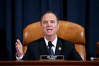 United States Representative Adam Schiff (Democrat of California), Chairman, US House Permanent Select Committee on Intelligence delivers his  closing remarks during the House Permanent Select Committee on Intelligence public hearing on the impeachment inquiry into US President Donald J. Trump, on Capitol Hill in Washington, DC, USA, 19 November 2019. The impeachment inquiry is being led by three congressional committees and was launched following a whistleblower's complaint that alleges US President Donald J. Trump requested help from the President of Ukraine to investigate a political rival, Joe Biden and his son Hunter Biden.<br /> Credit: Shawn Thew / Pool via CNP/AdMedia