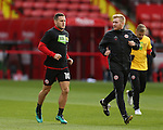 Billy Sharp of Sheffield Utd warms up in KIO t-shirt during the English League One match at the Bramall Lane Stadium, Sheffield. Picture date: November 19th, 2016. Pic Simon Bellis/Sportimage