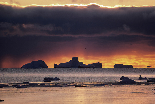 Icebergs on the horizon at sunset. Northwest Greenland.