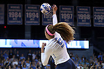 10 September 2015: North Carolina's Paige Neuenfeldt. The University of North Carolina Tar Heels hosted the Stanford University Cardinal at Carmichael Arena in Chapel Hill, NC in a 2015 NCAA Division I Women's Volleyball contest. North Carolina won the match 25-17, 27-25, 25-22.