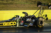 Sept. 21, 2012; Ennis, TX, USA: NHRA top fuel dragster driver Morgan Lucas during qualifying for the Fall Nationals at the Texas Motorplex. Mandatory Credit: Mark J. Rebilas-