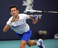MIAMI GARDENS, FLORIDA - MARCH 26: Roberto Bautista Agut of Spain defeats Novak Djokovic of Serbia during day 9 of the Miami Open presented by Itau at Hard Rock Stadium on March 26, 2019 in Miami Gardens, Florida.<br /> <br /> People: Novak Djokovic