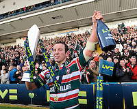 James Grindal of Leicester Tigers celebrates winning the LV= Cup Final match between Leicester Tigers and Northampton Saints at Sixways Stadium, Worcester on Sunday 18 March 2012 (Photo by Rob Munro, Fotosports International)