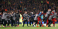 Liverpool manager Jurgen Klopp celebrates with his players and coaching staff at the final whistle <br /> <br /> Photographer Rich Linley/CameraSport<br /> <br /> UEFA Champions League Semi-Final 2nd Leg - Liverpool v Barcelona - Tuesday May 7th 2019 - Anfield - Liverpool<br />  <br /> World Copyright © 2018 CameraSport. All rights reserved. 43 Linden Ave. Countesthorpe. Leicester. England. LE8 5PG - Tel: +44 (0) 116 277 4147 - admin@camerasport.com - www.camerasport.com