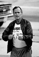 ***FILE PHOTO*** George H.W. Bush Has Passed Away<br /> Chicago, Illinois, USA, August 22, 1988<br /> Vice-President George H.W. Bush goes jogging in Grant Park, Chicago while on a campaign swing thru the state of Illinois. <br /> CAP/MPI/MRN<br /> &copy;MRN/MPI/Capital Pictures