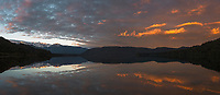 Dawn at Lake Mapourika with perfect reflections, Westland Tai Poutini National Park, UNESCO World Heritage Area, West Coast, New Zealand, NZ