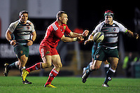 Keith Earls of Munster Rugby passes the ball. European Rugby Champions Cup match, between Leicester Tigers and Munster Rugby on December 20, 2015 at Welford Road in Leicester, England. Photo by: Patrick Khachfe / JMP