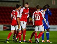 Fleetwood Town players celebrate Chris Long's opening goal<br /> <br /> Photographer Alex Dodd/CameraSport<br /> <br /> The EFL Checkatrade Trophy - Northern Group B - Fleetwood Town v Leicester City U21 - Tuesday September 11th 2018 - Highbury Stadium - Fleetwood<br />  <br /> World Copyright &copy; 2018 CameraSport. All rights reserved. 43 Linden Ave. Countesthorpe. Leicester. England. LE8 5PG - Tel: +44 (0) 116 277 4147 - admin@camerasport.com - www.camerasport.com