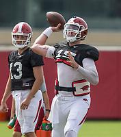 NWA Democrat-Gazette/BEN GOFF @NWABENGOFF<br /> Cole Kelley, Arkansas quarterback, Wednesday, Aug. 8, 2018, at the Arkansas practice field in Fayetteville.