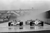 MONTREAL, CANADA - SEPTEMBER 27: Hector Rebaque drives the Brabham BT49C 12/Ford Cosworth ahead of Carlos Reutemann in the Williams FW07C 17/Ford Cosworth during the 1981 Canadian Grand Prix FIA Formula One World Championship race at the Circuit Île Notre-Dame temporary circuit in Montreal, Canada, on September 27, 1981.