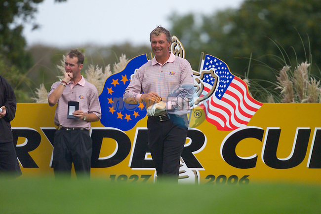 Ryder Cup. Darren Clarke during practise on the 16th tee of the Palmer Course at the K Club..Photo: Eoin Clarke/ Newsfile.<br />