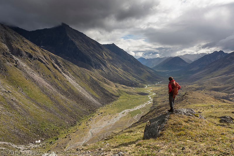 Hiker overlooks the Reed River, Gates of the Arctic National Park, Alaska