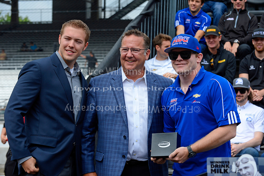 Verizon IndyCar Series<br /> Indianapolis 500 Drivers Meeting<br /> Indianapolis Motor Speedway, Indianapolis, IN USA<br /> Saturday 27 May 2017<br /> Starter's ring presentation: Conor Daly, A.J. Foyt Enterprises Chevrolet<br /> World Copyright: F. Peirce Williams