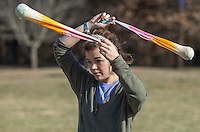 NWA Democrat-Gazette/J.T. WAMPLER Lauryn Hudgins of Fayetteville practices with her poi Sunday Feb. 11, 2017 at Gulley Park in Fayetteville. Hudgins performs with Sacred Semantics, a flow and circus art troupe based in Northwest Arkansas and the River Valley. Poi are tethered weights and can be lit on fire. Performing with poi began in New Zealand among the native Māori people.