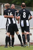 Juan Luque of Heybridge is congratulated by his team mates after scoring the second goal during Heybridge Swifts vs Carshalton Athletic, FA Trophy Football at The Aspen Waite Arena on 7th October 2017