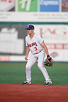 Brooklyn Cyclones second baseman Luke Ritter (3) during a NY-Penn League game against the Tri-City ValleyCats on August 17, 2019 at MCU Park in Brooklyn, New York.  The game was postponed due to inclement weather, Brooklyn defeated Tri-City 2-1 in the continuation of the game on August 18th.  (Mike Janes/Four Seam Images)
