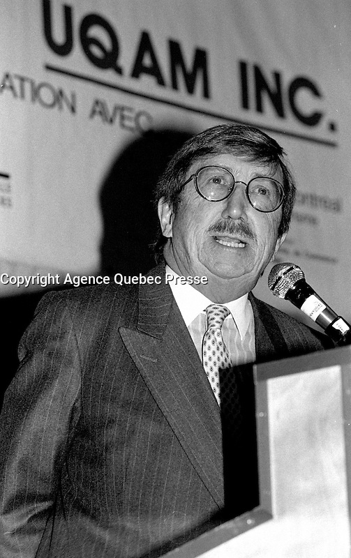 Montreal, CANADA - File Photo -  Pierre Peladeau, CEO, Quebecor speak at UQAM<br /> <br /> Photo : Agence Quebec Presse  - Pierre Roussel