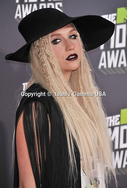 KeSha - Ke S ha arriving at the MTV Movie Awards 2013 on the Sony Studio Lot in Los Angeles.