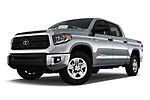 Stock pictures of low aggressive front three quarter view of a 2019 Toyota Tundra SR5 5.7L Crew Max 4WD Short Bed 4 Door Pick Up